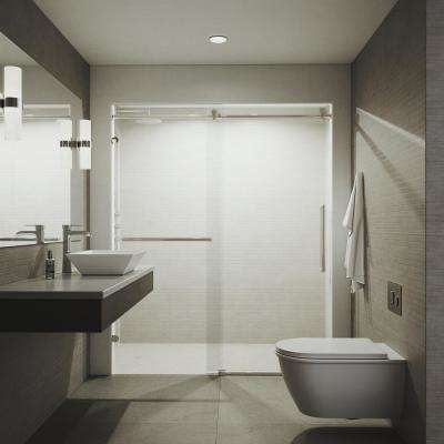 Ferrara 72 in. x 74 in. Frameless Sliding Shower Door in Stainless Steel with Tower Bar