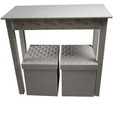 Upscale Designs Off White 3 Piece Storage Console Table