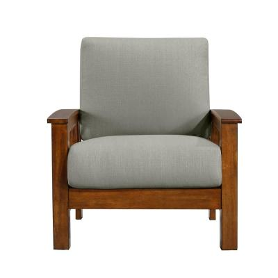 Omaha Mission Style Arm Chair with Exposed Cherry Wood Frame in Dove Gray Linen
