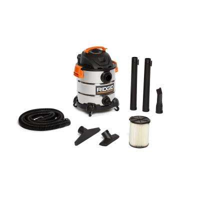 10 Gal. 6.0-Peak HP Stainless Steel Wet/Dry Shop Vacuum with Filter, Hose and Accessories