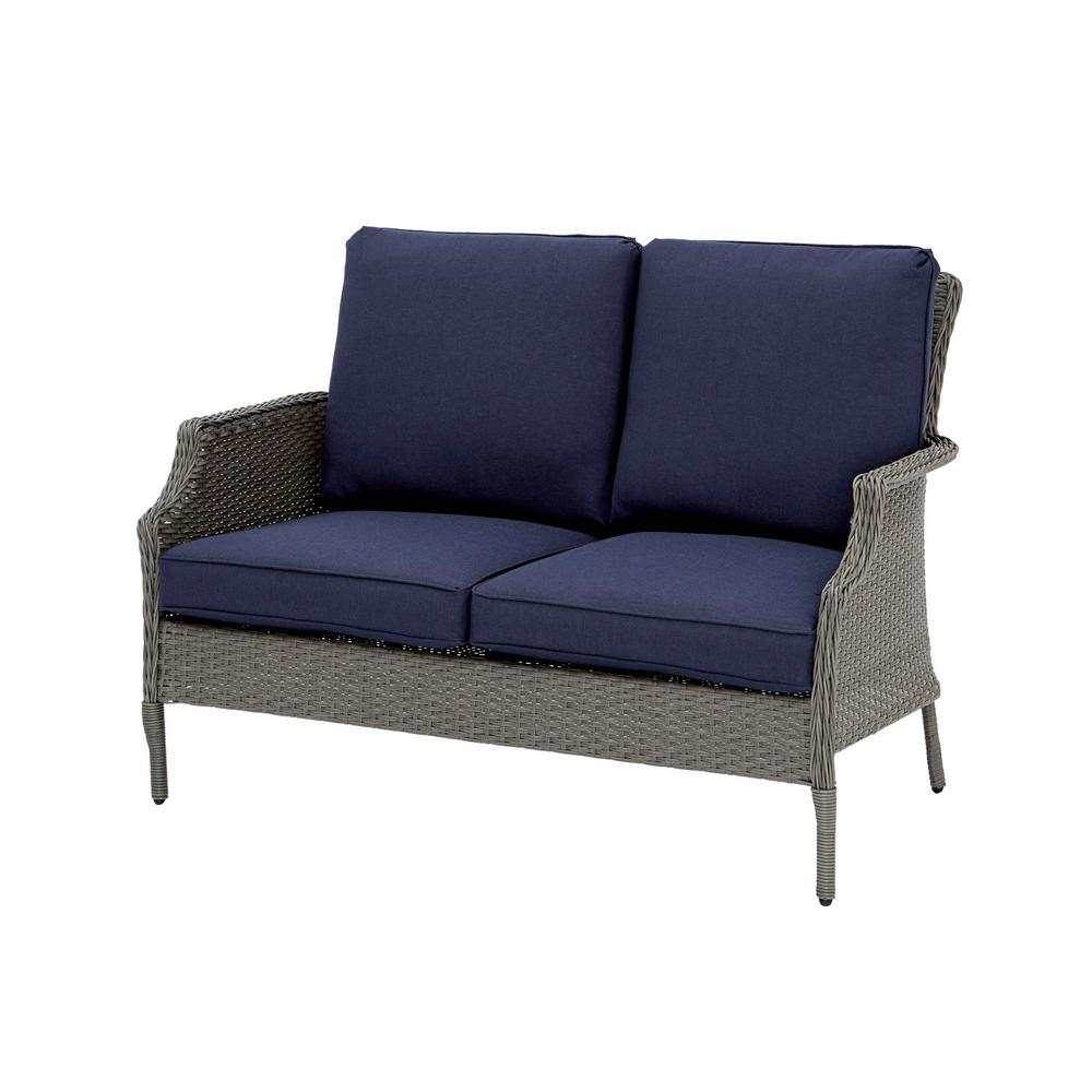 Hampton Bay Grayson Ash Gray Wicker Outdoor Chow Height Loveseat with Midnight Cushions