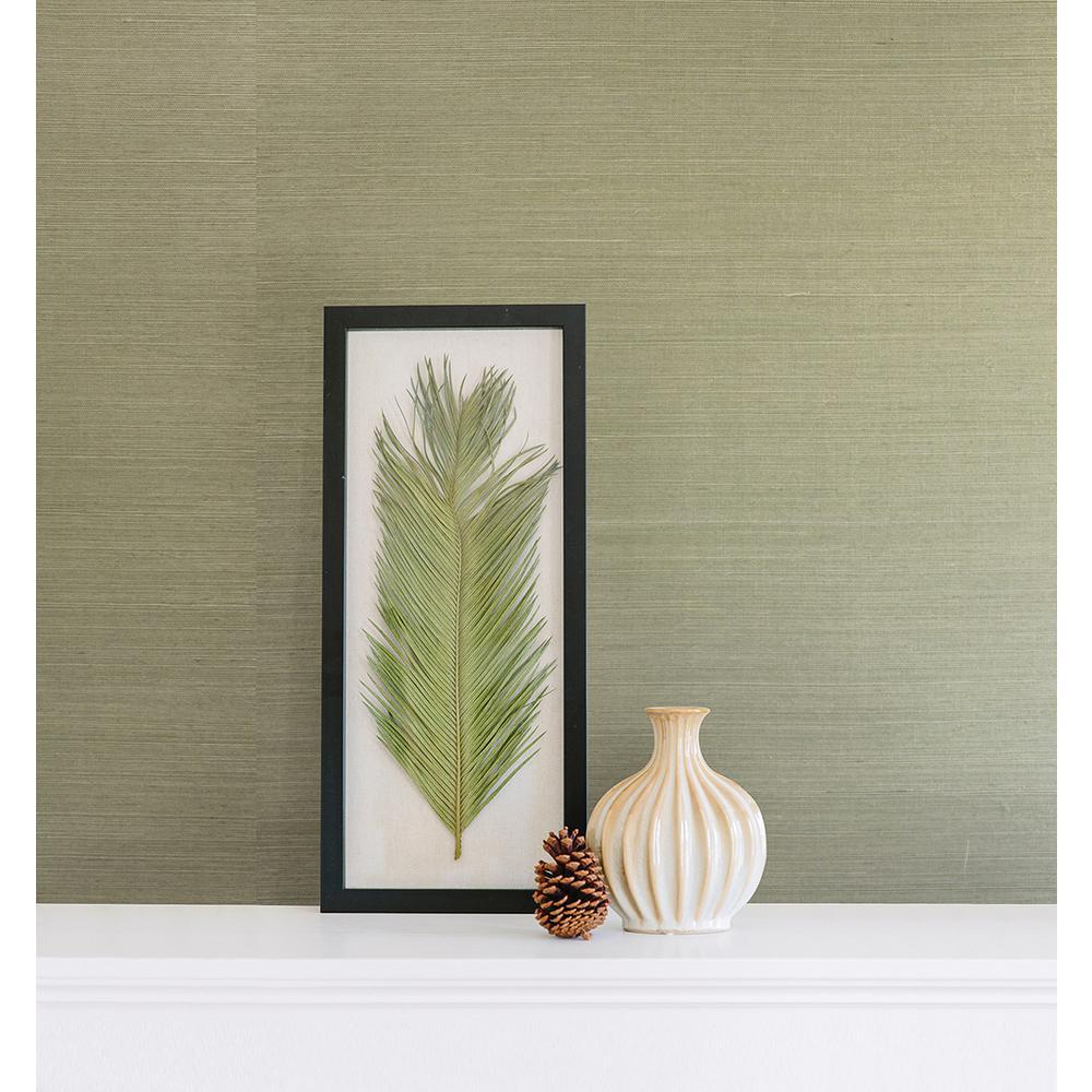 Barbora Light Green Grasscloth Wallpaper