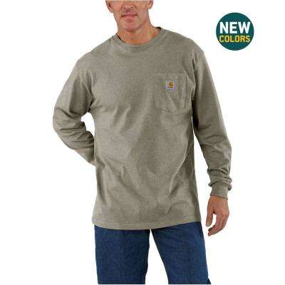Men's Large Desert Heather Cotton/ Polyester Workwear Pkt LS T Shrt