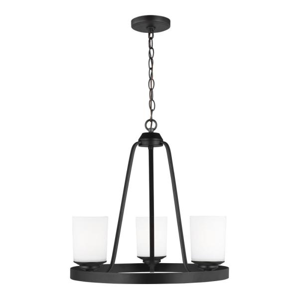 Kemal 3-Light Midnight Black Transitional Chandelier with Etched White Inside Glass Shades