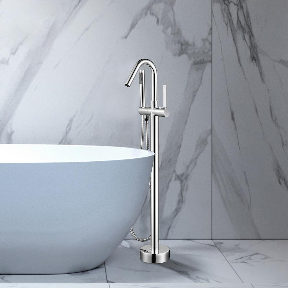 Vanity Art 40 in. H x 11 in. W Single Handle Claw Foot Tub Faucet with Hand Shower in Polished Chrome was $277.0 now $193.9 (30.0% off)