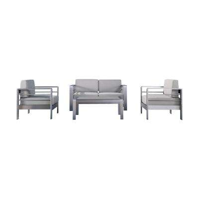 Valentina Silver 4-Piece Aluminum Patio Conversation Set with Cast Silver Sunbrella Cushions