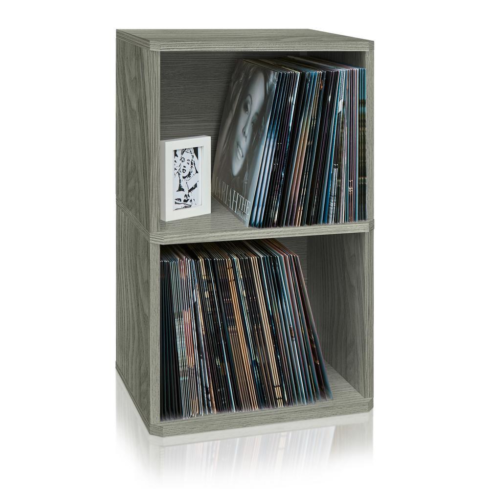Board Grey 2-Shelf Vinyl Record and LP Record Album Storage Shelf