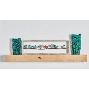 Multi-Colored Birds Perched on Wire Wooden Wall Decor by