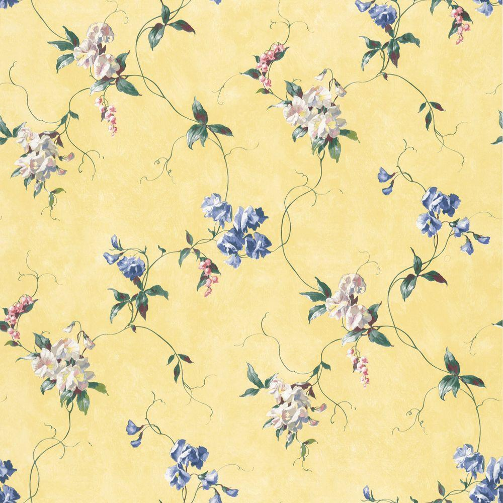 The Wallpaper Company 56 sq. ft. Yellow Floral Trail Wallpaper-DISCONTINUED