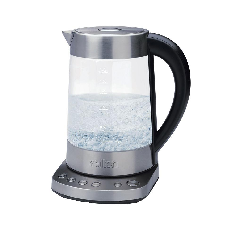 Glass Kettle with Tea Steeper, Silver Use this Glass Kettle and Tea Steeper from Salton to steep your tea or simply to boil water. It has 4 preset temperatures which lets you try a variety of teas including herbal, black, chai and herbal. It has a stainless steel infuser and includes 2 lids using as a standard kettle and steeping.