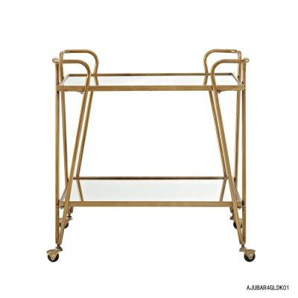 Mid-Century Gold Bar Cart with Castors