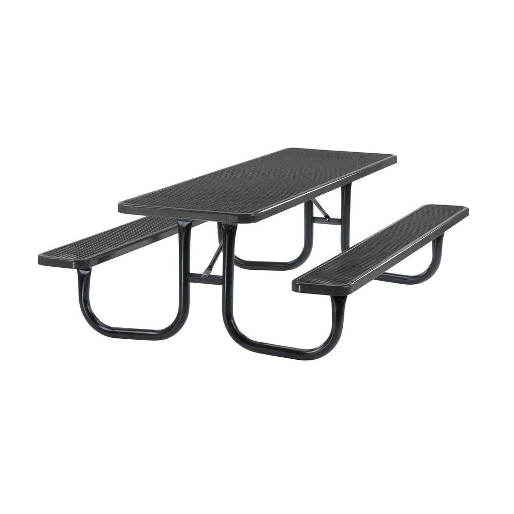 Portable 8 ft. Black Diamond Commercial Rectangular Table