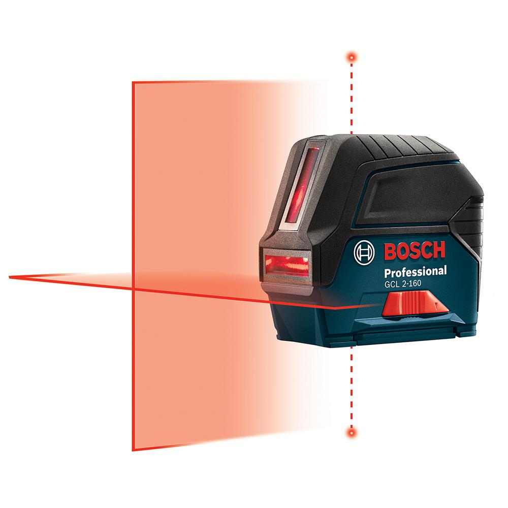 Bosch 65 Ft Self Leveling Cross Line Laser Level With Plumb Points Gcl 2 160 S The Home Depot