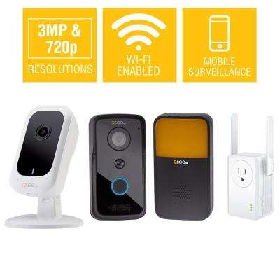 3MP Wi-Fi Mini Camera with 16GB SD Card and 720p Wi-Fi Smart Doorbell with Chime and Includes Wi-Fi Extender