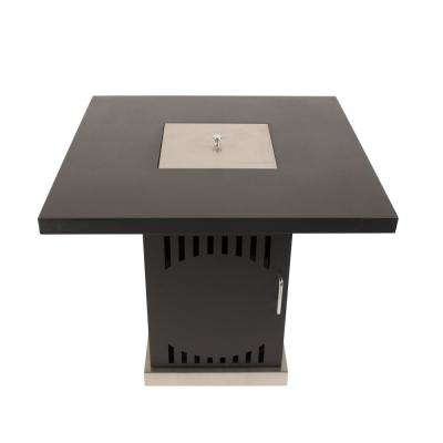 Halifax 30 in. x 27 in. Square Steel Propane Gas Fire Pit Table in Black with Glass Fire Rocks