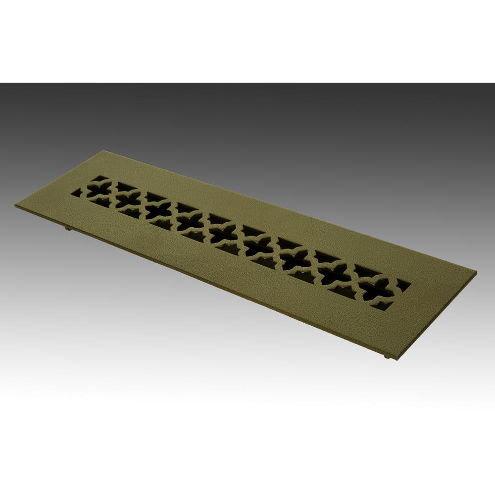 12 in. x 2.25 in. Oil Rubbed Bronze Poweder Coat Steel Floor Vent with Opposed Blade Damper