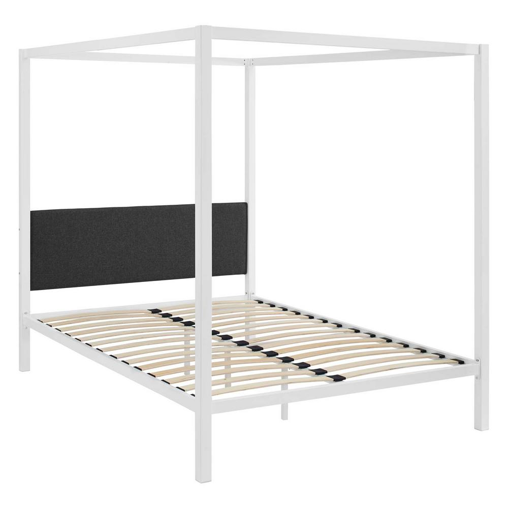 Raina White Gray Queen Canopy Bed Frame