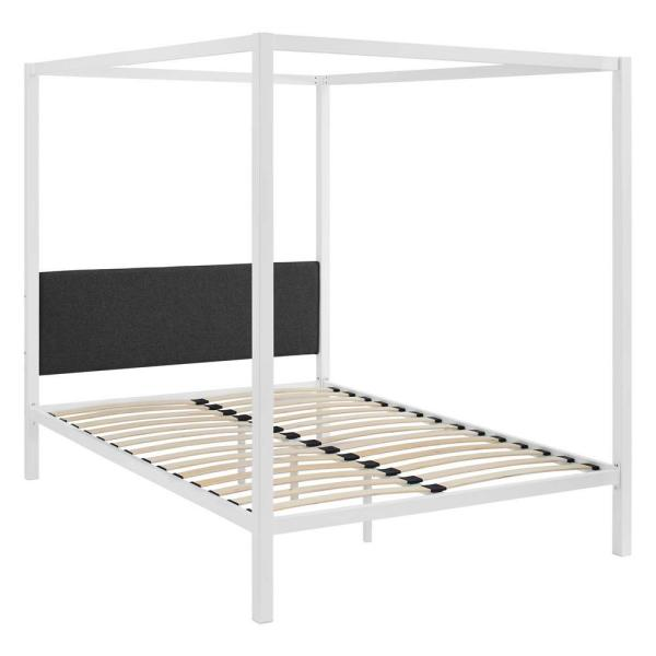 MODWAY Raina White Gray Queen Canopy Bed Frame MOD-5570-WHI-GRY