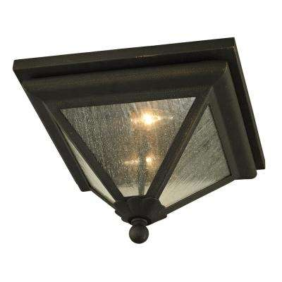 Geneva Vintage Bronze 2-Light 14 in. W Outdoor Flush Mount with Clear Seeded Glass