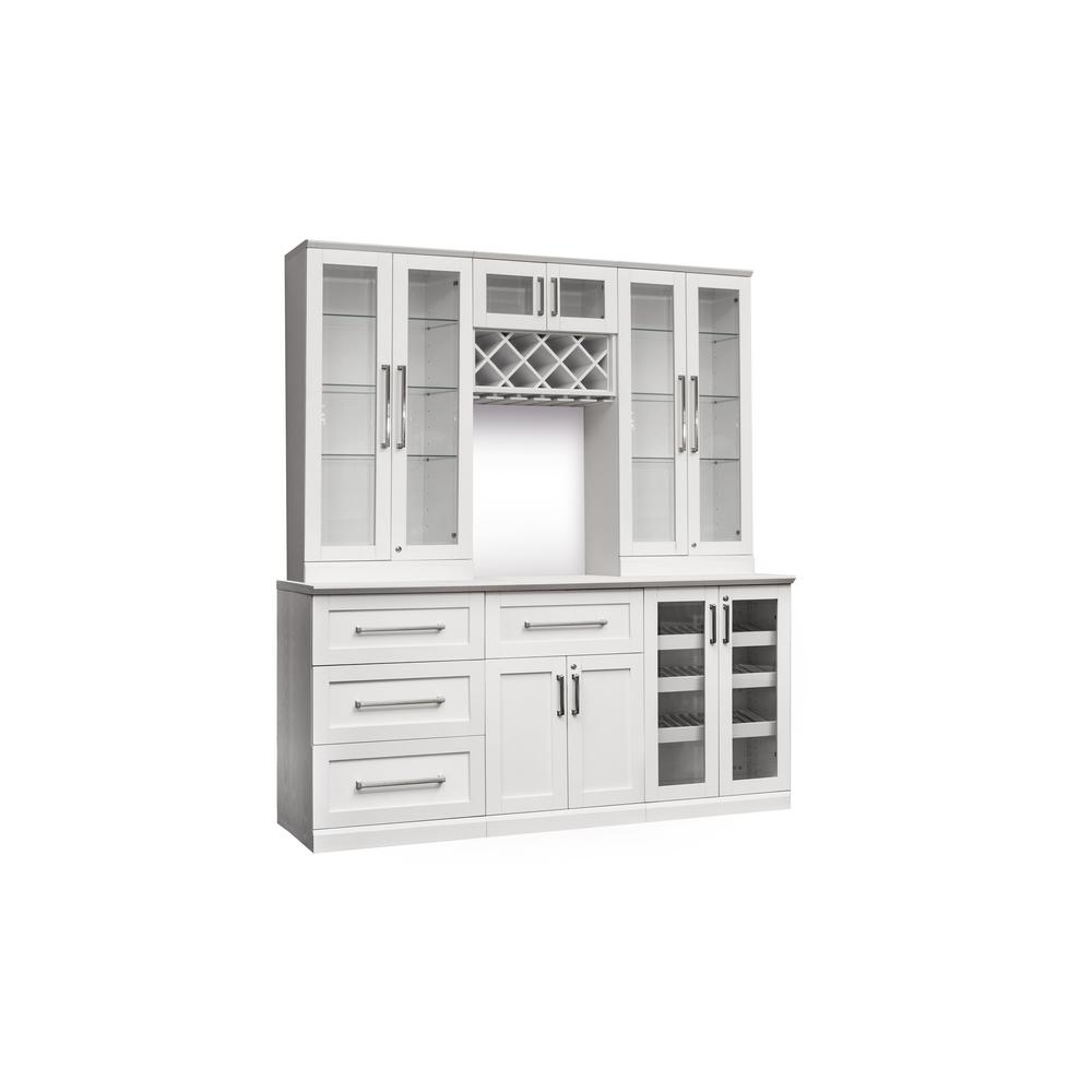 Newage Products Home Bar 7 Piece White Shaker Style Cabinet