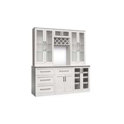 Home Bar 7-Piece White Shaker Style Bar Cabinet