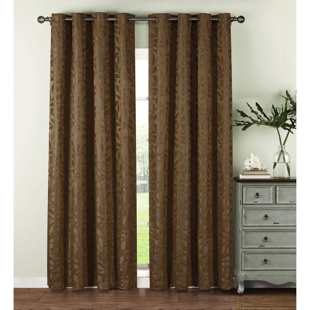 Window Elements Semi Opaque Alpine Textured Woven Leaf Jacquard Mocha Grommet Curtain Panel