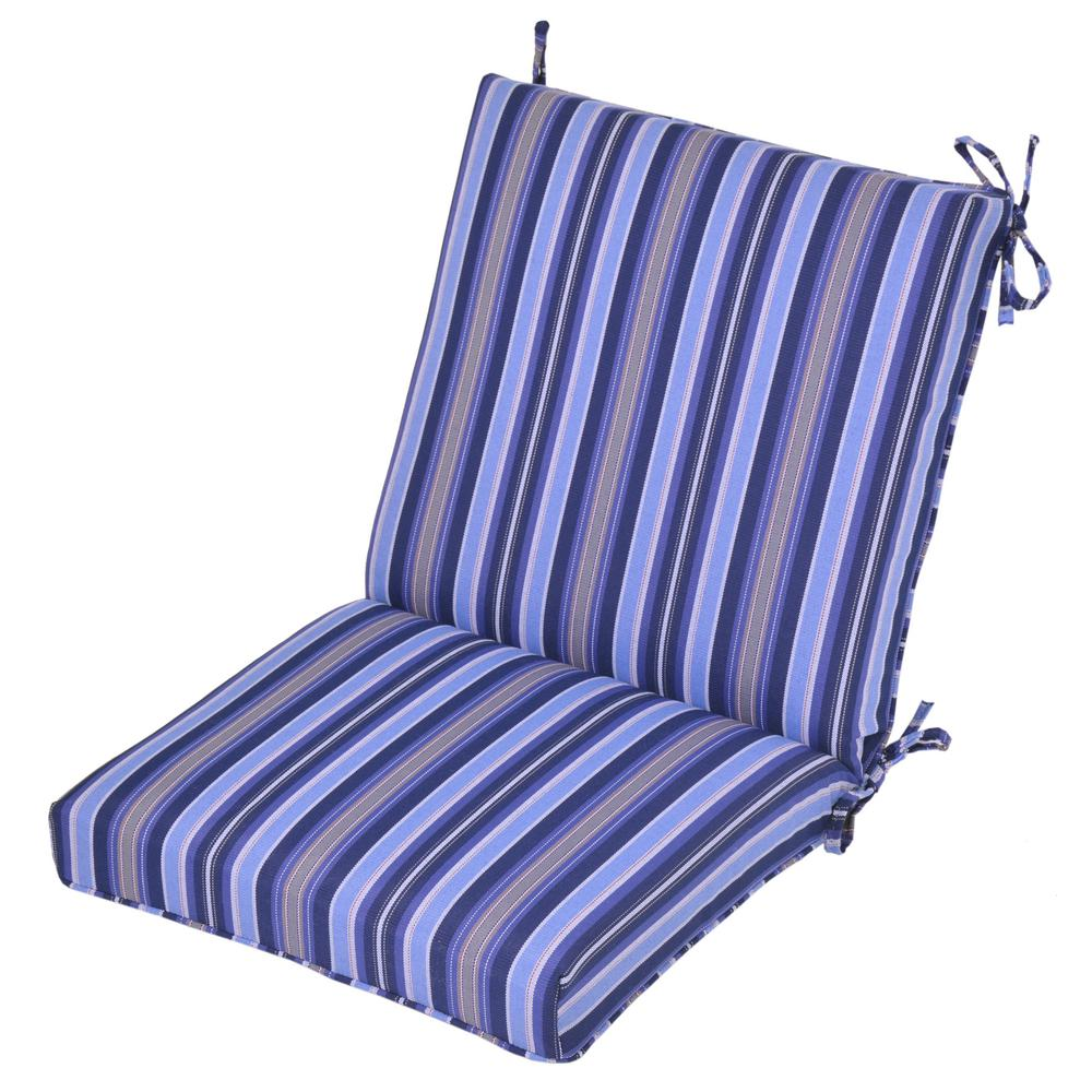 Hampton Bay Mainer Stripe Outdoor Dining Chair Cushion