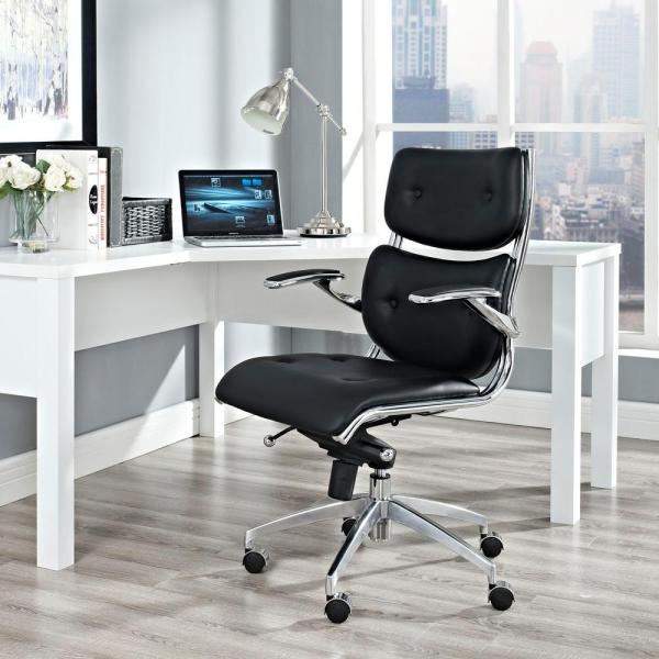 MODWAY Push Mid Back Office Chair in Black EEI-1062-BLK