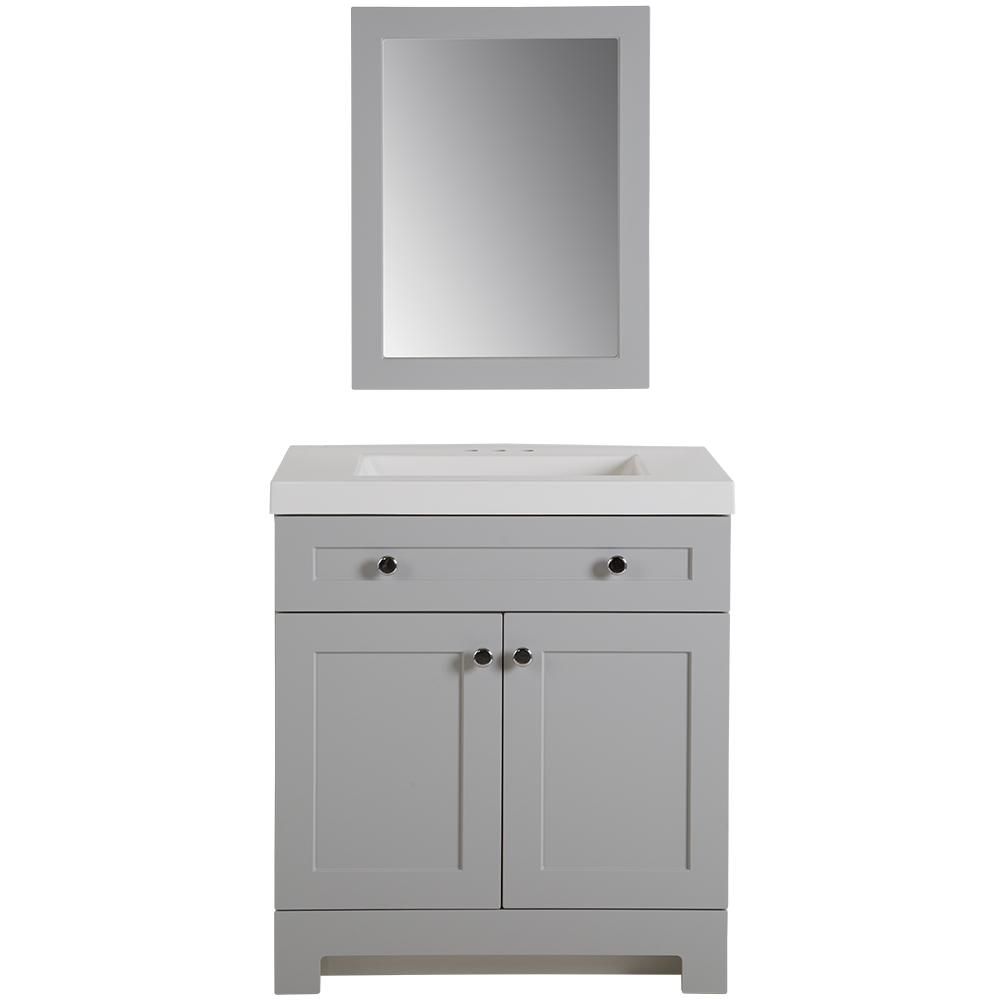Glacier Bay Everdean 31 in. W Vanity in Pearl Gray with Cultured Marble Vanity Top in White with White Sink and Mirror