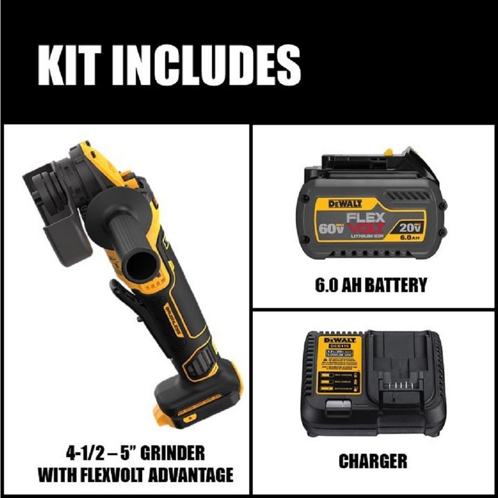 20-Volt MAX Cordless Brushless 4-1/2 Angle Grinder with FLEXVOLT ADVANTAGE and (1) FLEXVOLT 6.0Ah Battery Kit