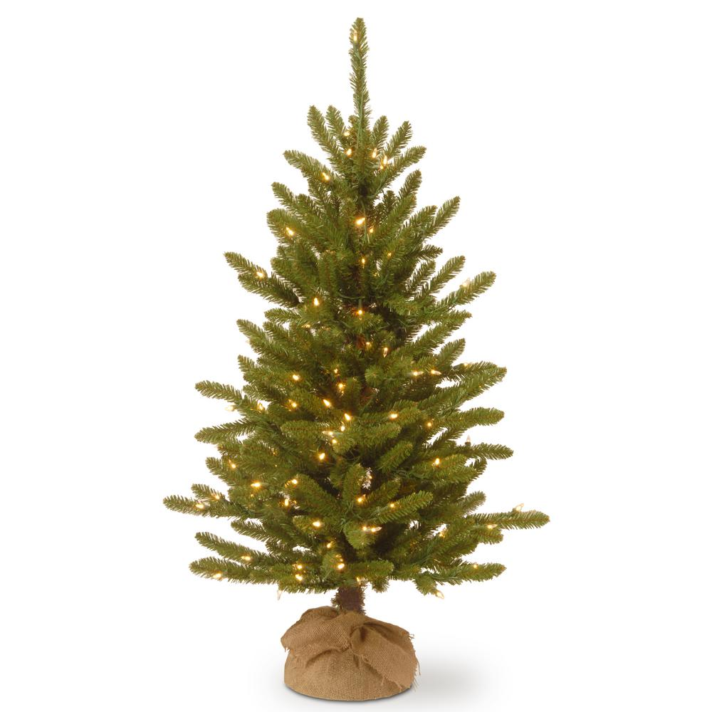 hot sale online d03e2 c308c National Tree Company 4 ft. Kensington Burlap Artificial Christmas Tree  with Clear Lights