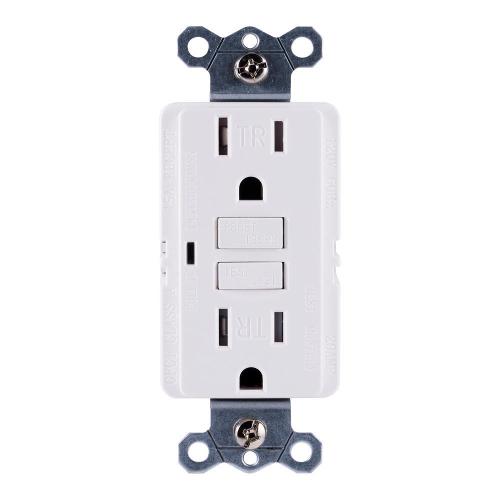 15 Amp Tamper-Resistant Self-Test GFCI Outlet, White