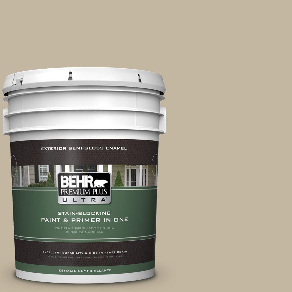 BEHR Premium Plus Ultra Home Decorators Collection 5-gal. #HDC-NT-09 Basic Khaki Semi-Gloss Enamel Exterior Paint