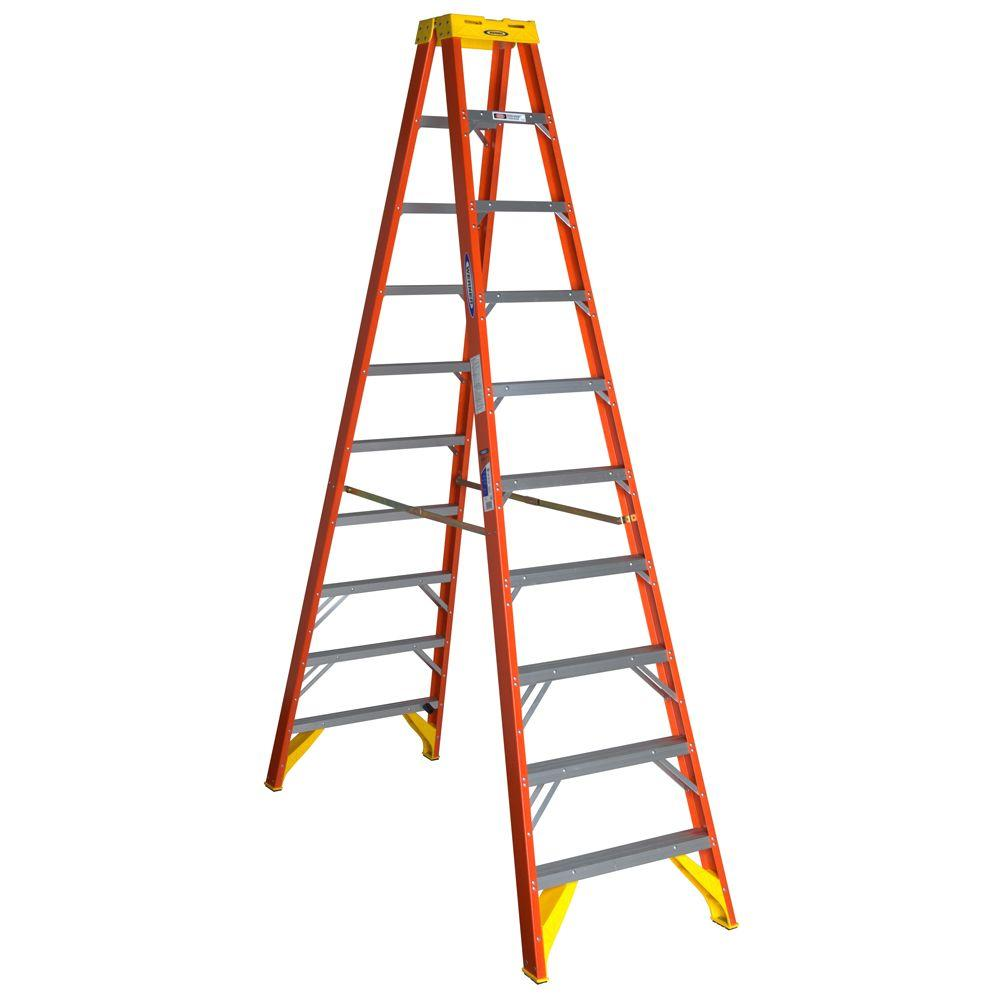 10 ft. Fiberglass Twin Step Ladder with 300 lbs. Load Capacity