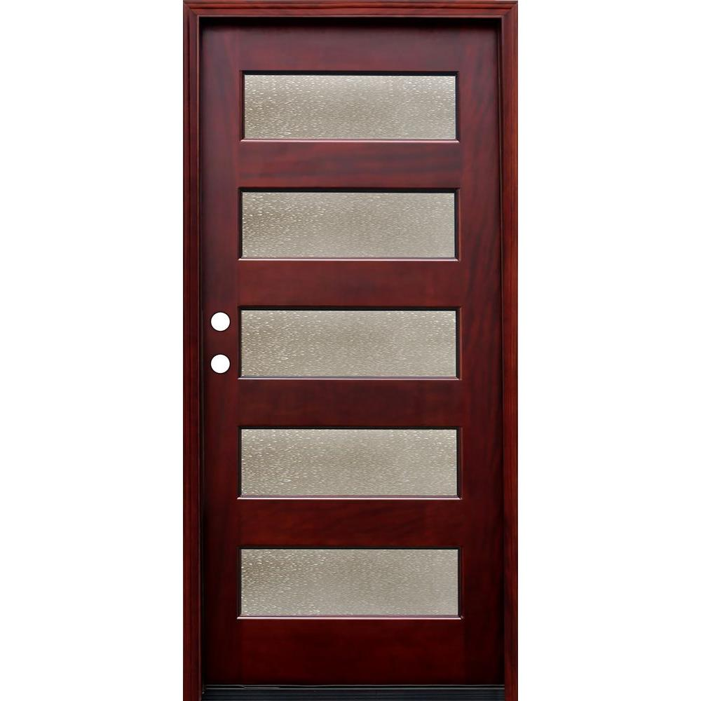 Pacific entries 36 in x 80 in contemporary 5 lite seedy stained contemporary 5 lite seedy stained mahogany wood prehung front door m55sdmr the home depot rubansaba