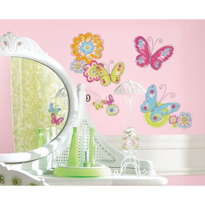 5 in. x 11.5 in. Brushwork Butterfly Peel and Stick Wall Decals