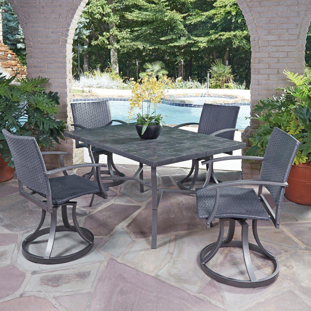 Black 5-Pieces Stone Veneer Patio Dining Set