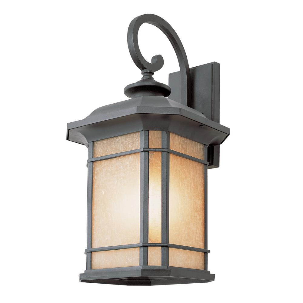 3-Light Black Outdoor Wall Lantern with Tea Stained Linen...
