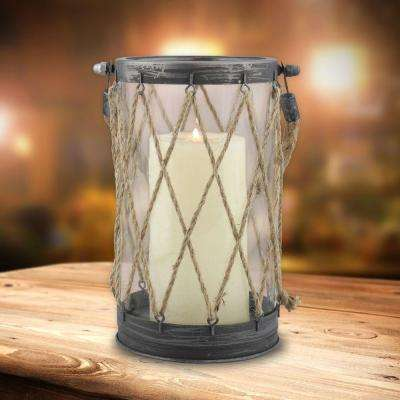 5 in. x 9 in. Vintage Zinc and Twine Nautical Lantern