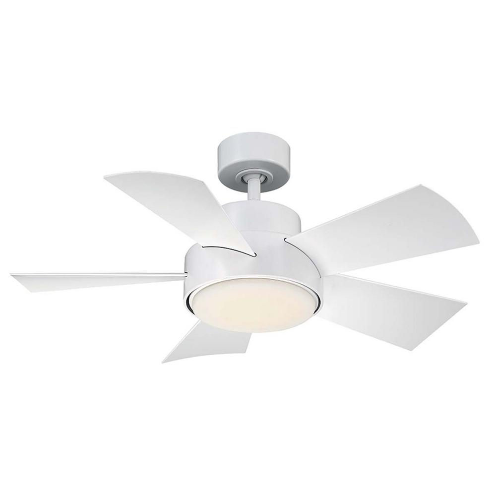 Modern Forms Elf 38 in. LED Indoor/Outdoor Matte White 5-Blade Smart Ceiling Fan with 3000K Light Kit and Wall Control