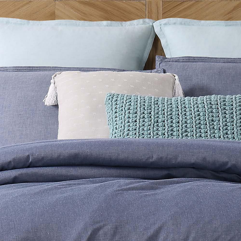 Chambray Loft Grey Square Pillow