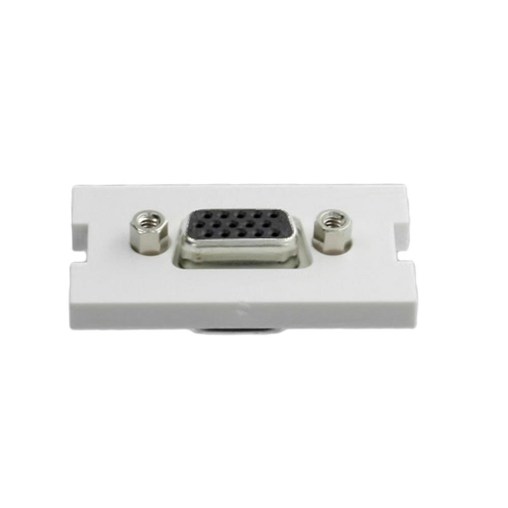 VGA HD15 Video Feedthrough Multimedia Outlet System (MOS) Module, White