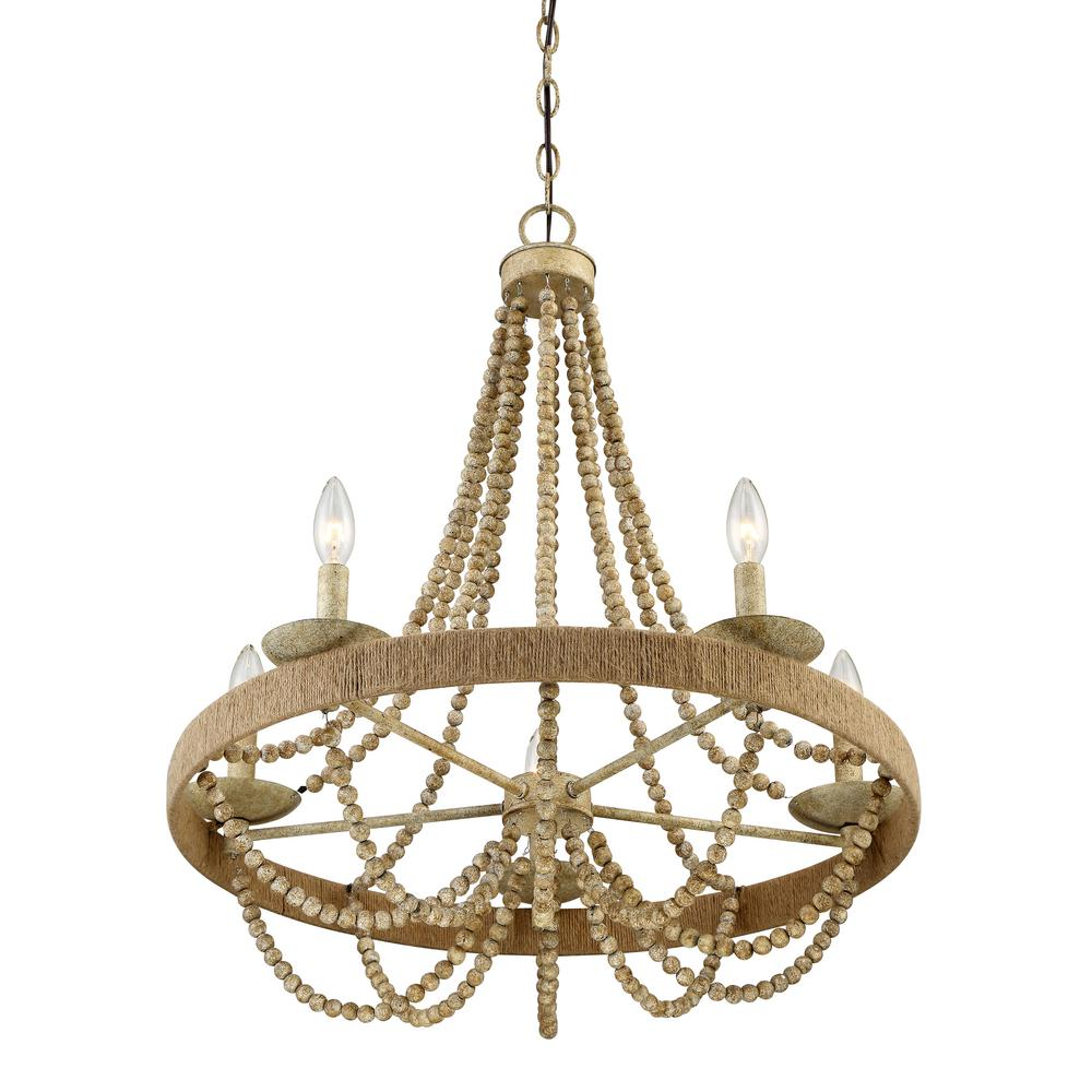 Filament design 5 light natural wood with rope chandelier