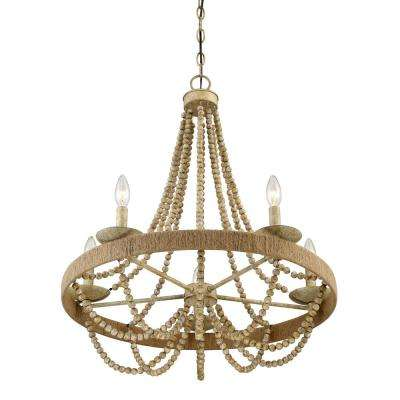 5-Light Natural Wood with Rope Chandelier