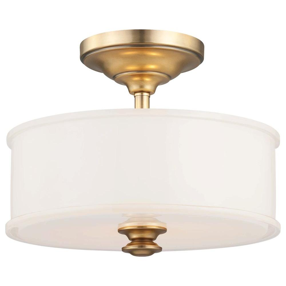 Minka Lavery Harbour Point 2-Light Liberty Gold Semi-Flush Mount Light