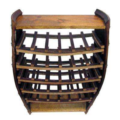 36 in. H x 26 in. W Lacquer Whole Barrel Wine Rack with 2-Shelves Holds 30-Bottles