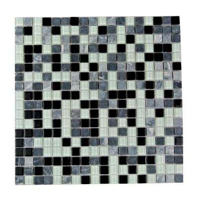 Crystal Stone Black Mix 11.75 in. x 11.75 in. x 4 mm Glass and Stone Mosaic Tile