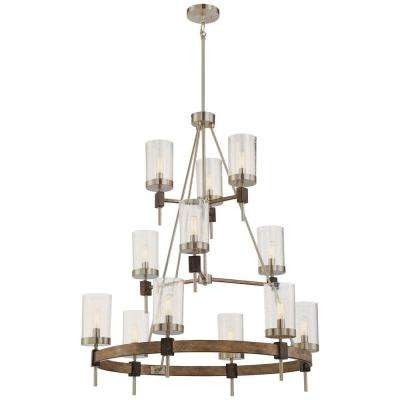 Bridlewood 12-Light Stone Grey with Brushed Nickel Chandelier