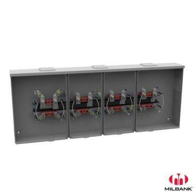 100 Amp 4-Terminal Per Position Ringless Overhead/Underground Horn Bypass 4-Position Side Wireway Gang Socket