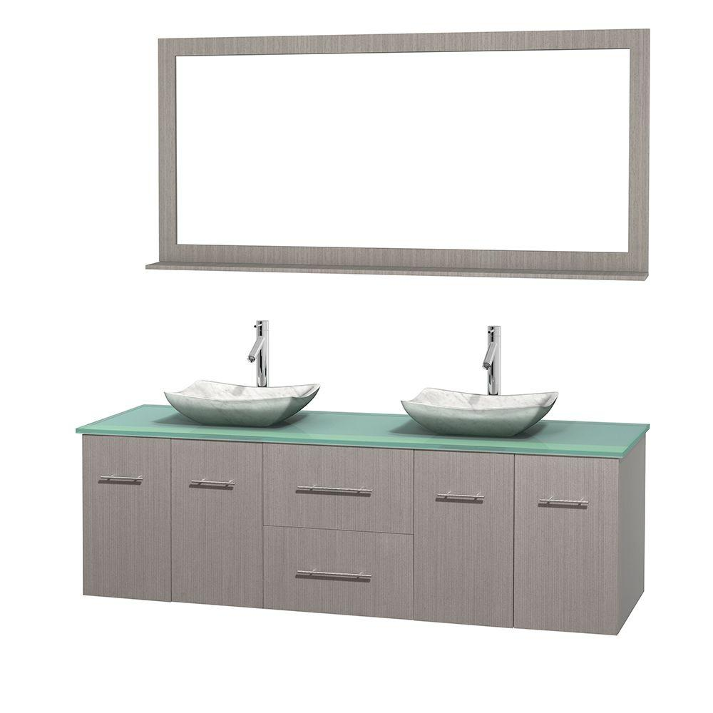 Double Vanity in Gray Oak with Glass Vanity Top in